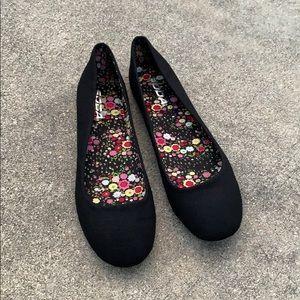 Soda Black Linen Comfy Plain Ballet Flats